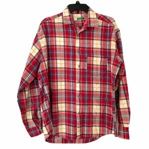 United Colors of Benetton Plaid Button Shirt Red